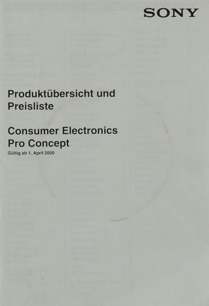 Sony Produktübersicht & Preisliste (April 2000) Prospekt / Katalog