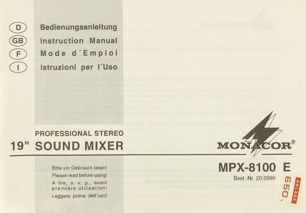 Monacor MPX-8100 E Bedienungsanleitung