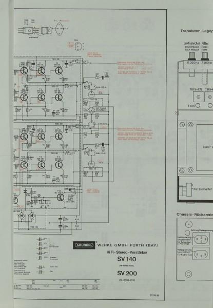 Grundig SV 140 / SV 200 Schaltplan / Serviceunterlagen