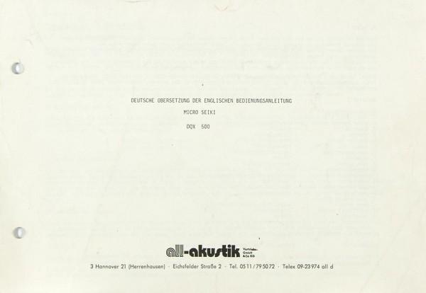 Micro Seiki DQX 500 Bedienungsanleitung