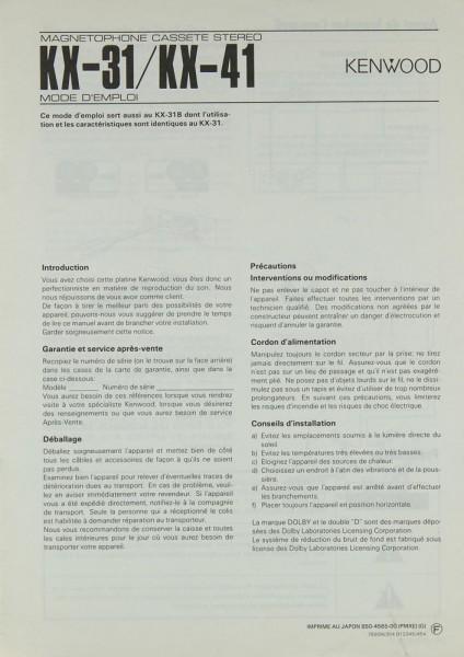 Kenwood KX-31 / KX-41 Bedienungsanleitung