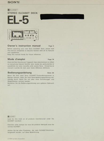 Sony EL-5 Bedienungsanleitung