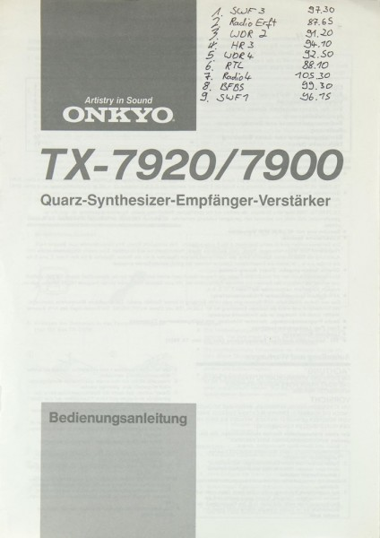 Onkyo TX-7920 / 7900 Bedienungsanleitung