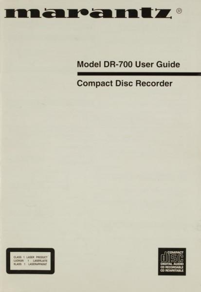 Marantz Model DR-700 Bedienungsanleitung
