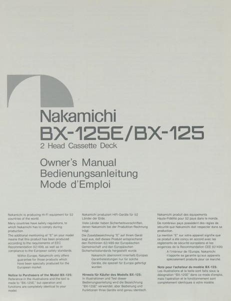 Nakamichi BX-125 E / BX-125 Bedienungsanleitung