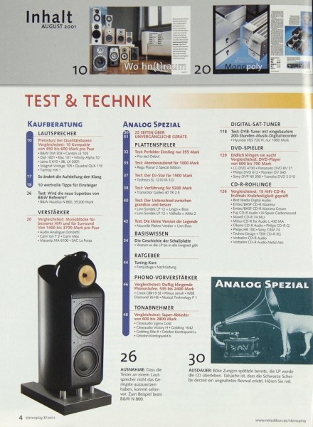 Stereoplay 8/2001 Zeitschrift