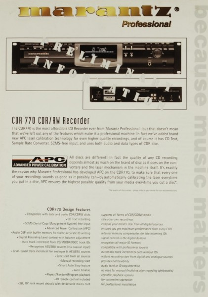 Marantz CDR 770 Prospekt / Katalog