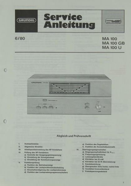 Grundig MA 100 / MA 100 GB / MA 100 U Schaltplan / Serviceunterlagen
