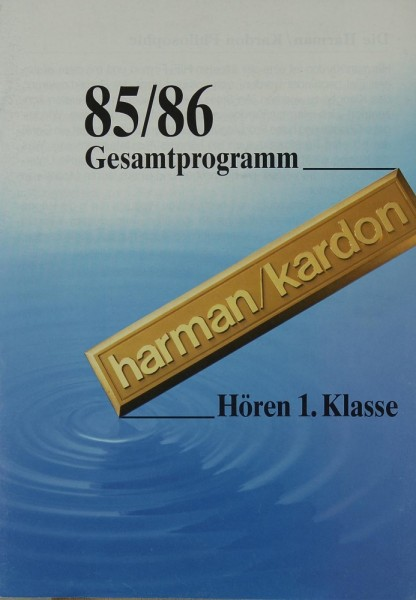 Harman / Kardon Gesamtprogramm 85/86 Prospekt / Katalog