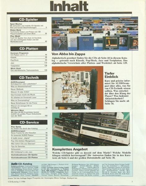 Audio Spezial 1/1986 Zeitschrift