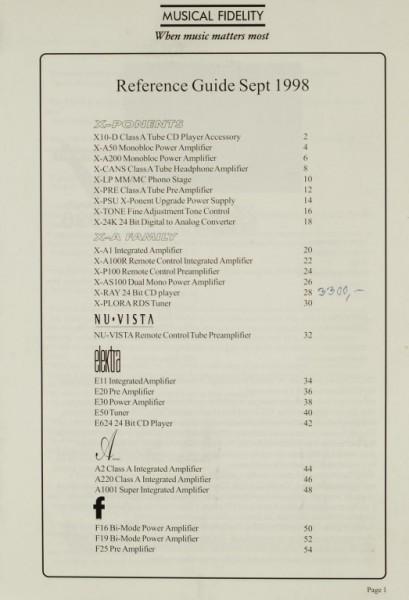 Musical Fidelity Reference Guide Sept. 1998 Prospekt / Katalog