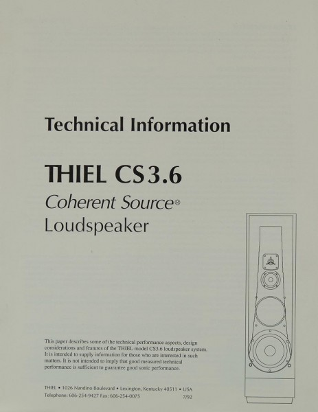 Thiel Model CS 3.6 Prospekt / Katalog