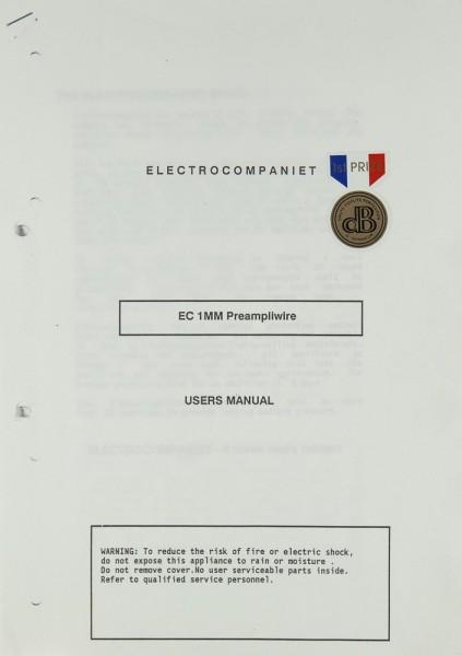 Electrocompaniet EC 1 MM Bedienungsanleitung