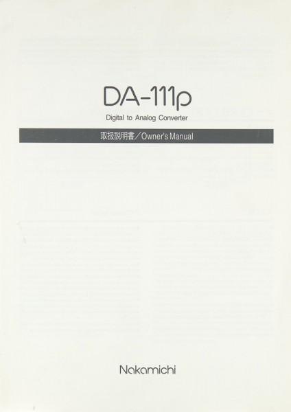 Nakamichi DA-111 p Bedienungsanleitung