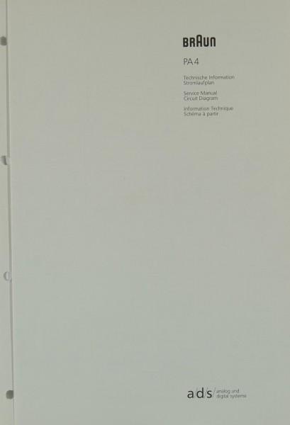 Braun PA 4 Schaltplan / Serviceunterlagen