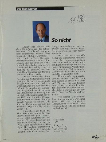 Hifi Vision 11/1986 Zeitschrift