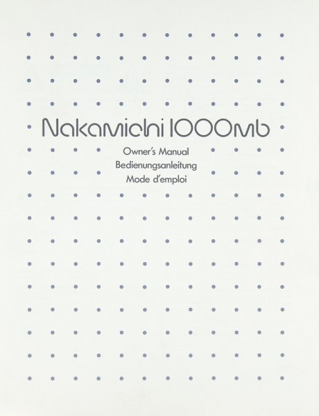 Nakamichi 1000 Mb Bedienungsanleitung