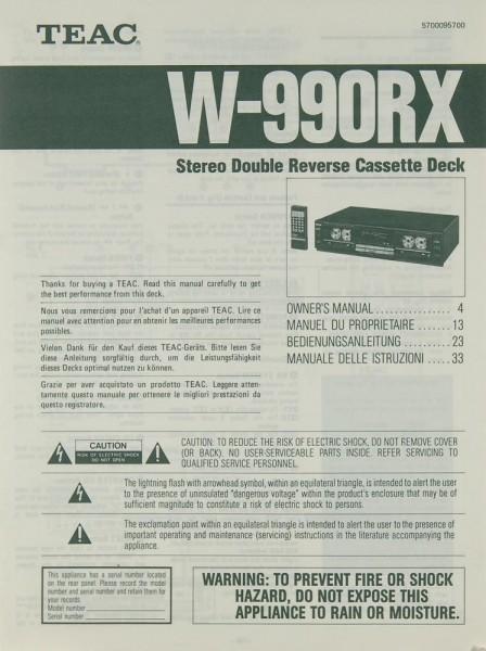 Teac W-990 RX Bedienungsanleitung