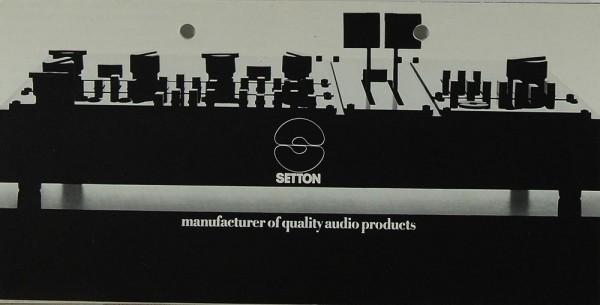 Setton Manufacturer of Quality Audio Products Prospekt / Katalog