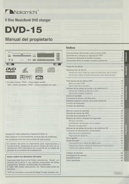 Nakamichi DVD-15 Bedienungsanleitung