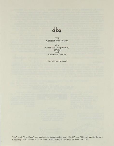 DBX DX 5 Bedienungsanleitung