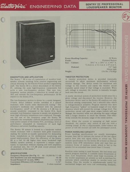 Electro-Voice Sentry III Prospekt / Katalog