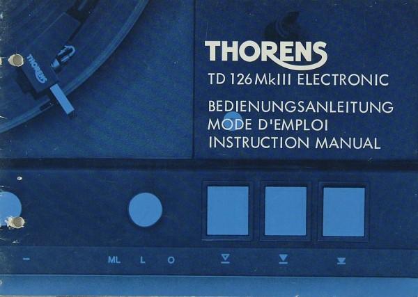Thorens TD 126 Mk III Electronic Bedienungsanleitung
