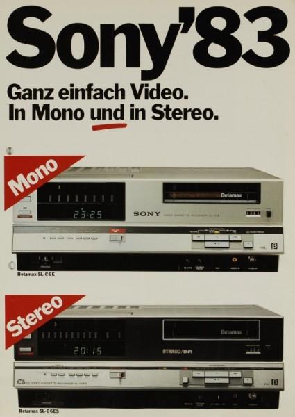 Sony Sony ´83 - Betamax SL-C 6 E / SL-C 6 ES Prospekt / Katalog