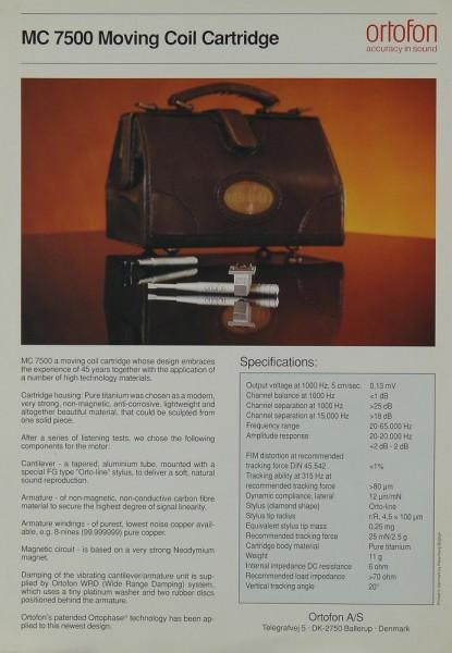 Ortofon MC 7500 Prospekt / Katalog