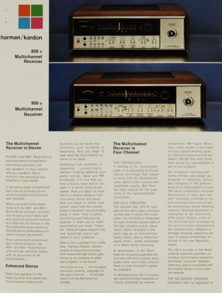 Harman / Kardon 800 + / 99 + Multichannel Receiver Prospekt / Katalog