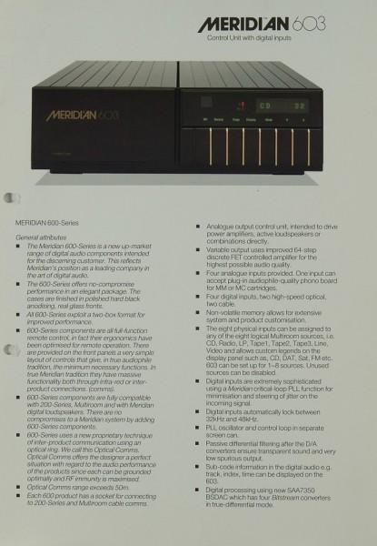 Meridian 603 Prospekt / Katalog