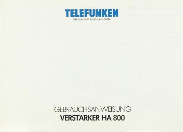 Telefunken HA 800 Bedienungsanleitung