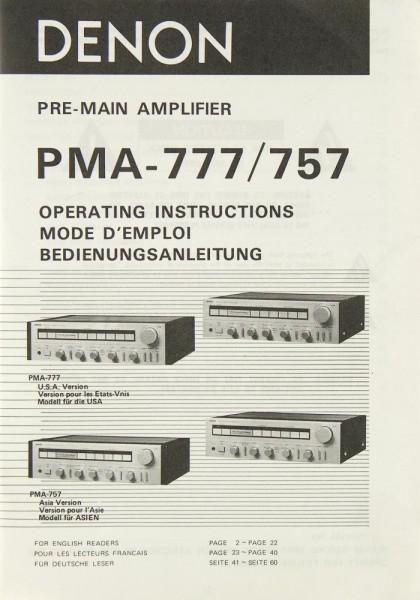 Denon PMA-777 / PMA-757 Bedienungsanleitung