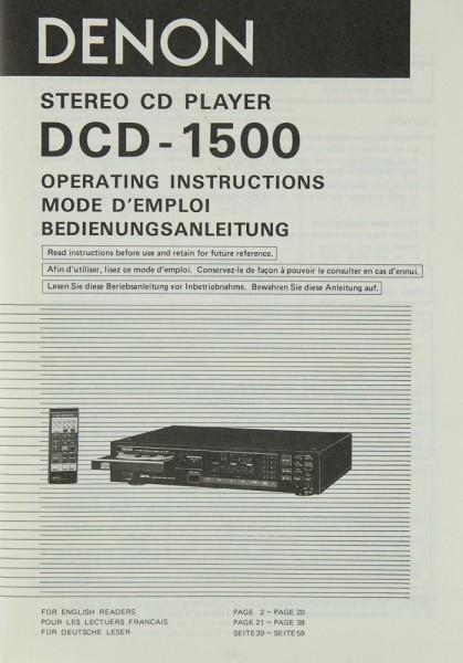 Denon DCD-1500 Bedienungsanleitung