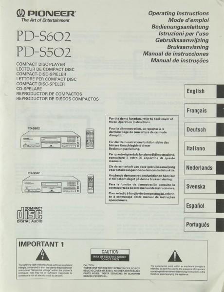 Pioneer PD-S 602 / PD-S 502 Bedienungsanleitung