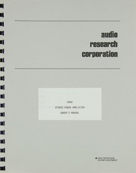 Audio Research D 400 Bedienungsanleitung