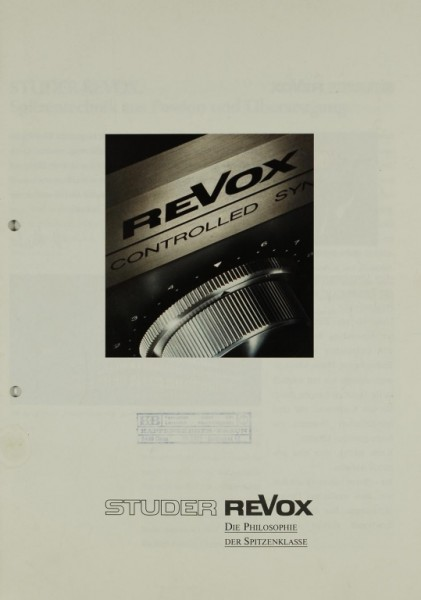 Revox (Studer Revox) Produktübersicht 1983 Prospekt / Katalog