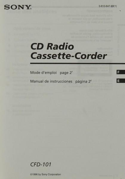 Sony CFD-101 Bedienungsanleitung