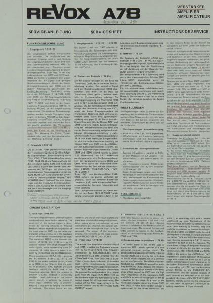Revox A 78 Schaltplan / Serviceunterlagen