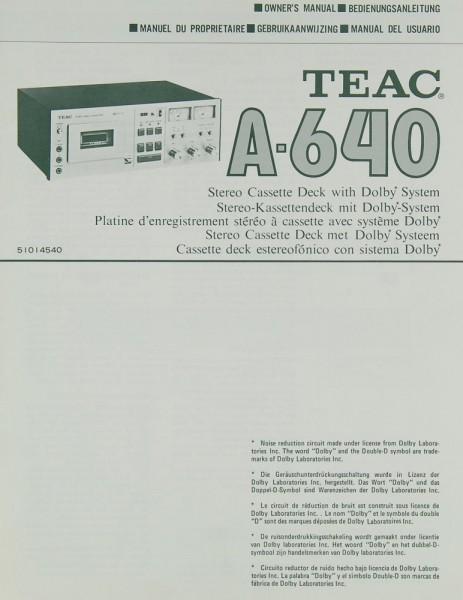 Teac A-640 Bedienungsanleitung