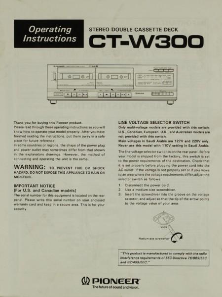 Pioneer CT-W 300 Bedienungsanleitung