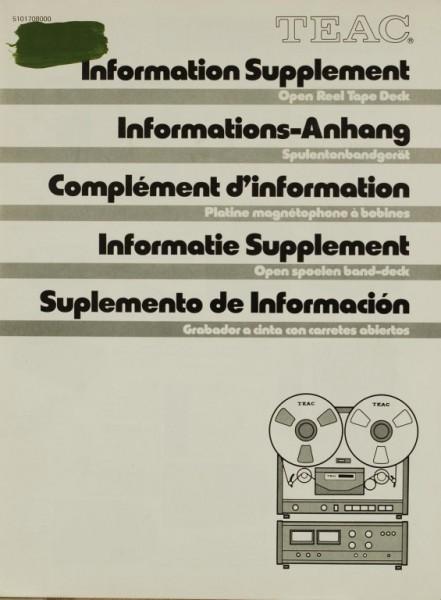 Teac Informations-Anhang Bedienungsanleitung