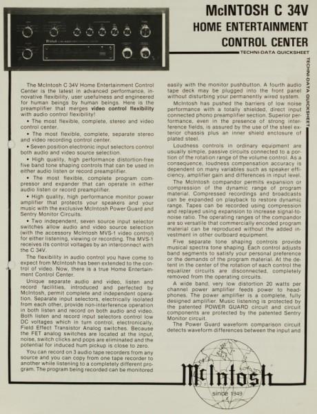 McIntosh C 34V Prospekt / Katalog