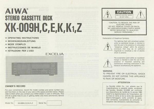 Aiwa XK-009 H / C / E / K / K1 / Z Bedienungsanleitung