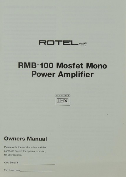 Rotel RMB-100 Mosfet Mono Bedienungsanleitung