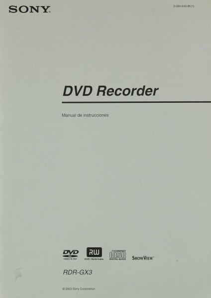 Sony RDR-GX 3 Bedienungsanleitung