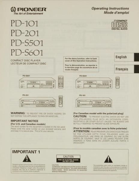 Pioneer PD-101 / PD-201 / PD-S 501 / PD-S 601 Bedienungsanleitung