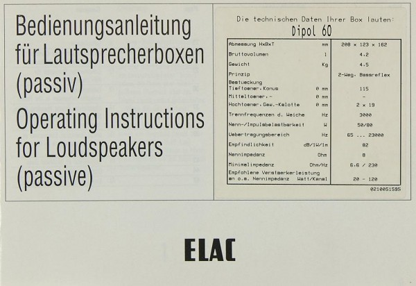 Elac Dipol 60 Bedienungsanleitung