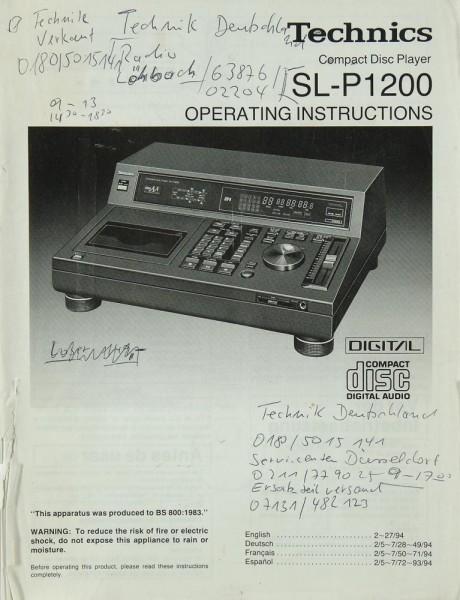 Technics SL-P 1200 Bedienungsanleitung