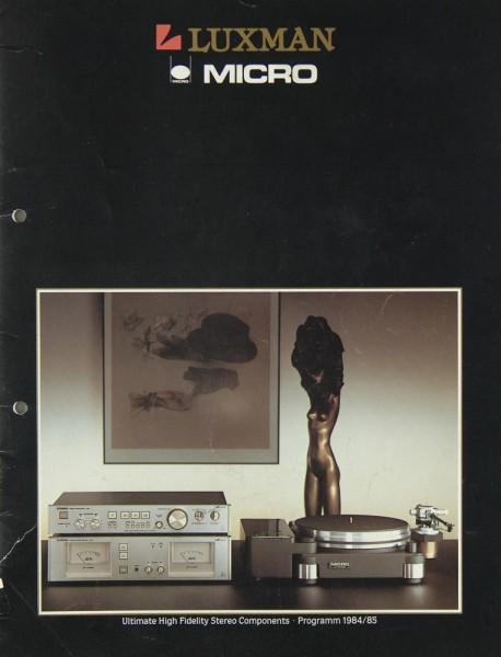 Luxman / Micro Lieferübersicht 1984/1985 Prospekt / Katalog